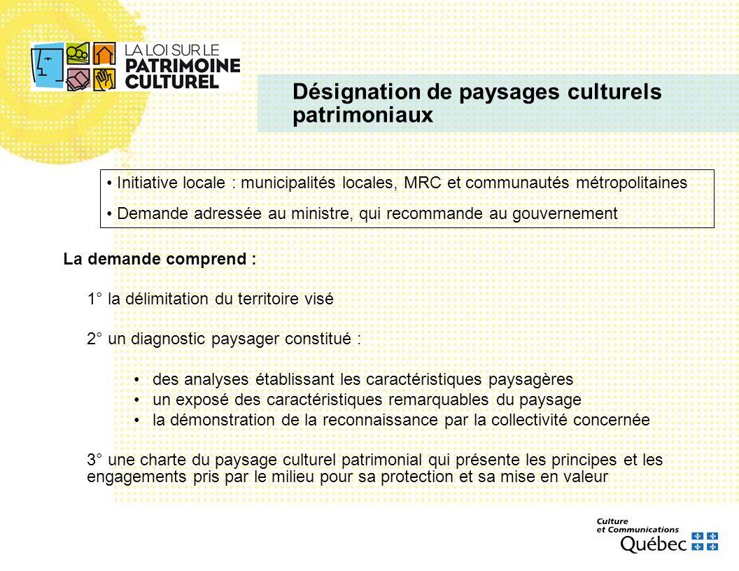 Désignation de paysages culturels patrimoniaux