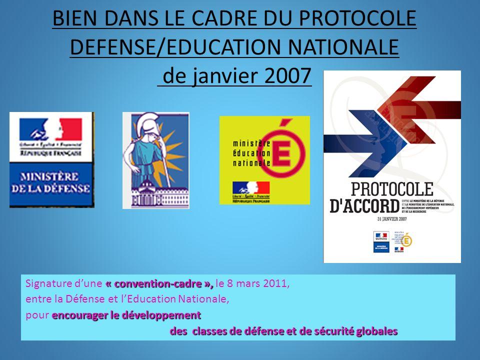 BIEN DANS LE CADRE DU PROTOCOLE DEFENSE/EDUCATION NATIONALE de janvier 2007