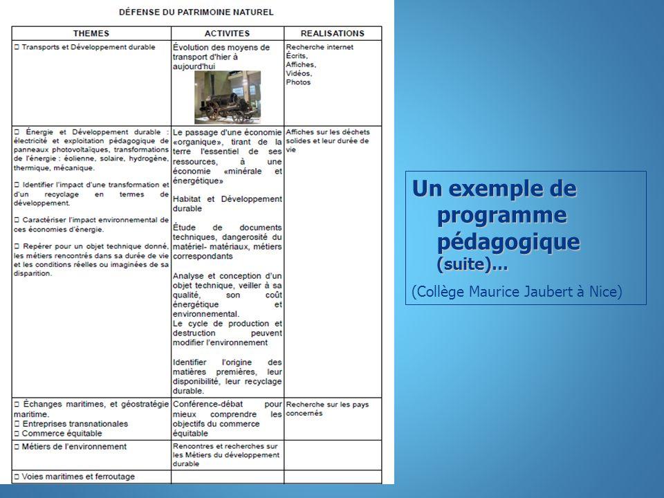 Un exemple de programme pédagogique (suite)…