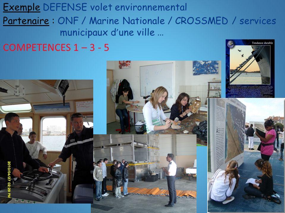 COMPETENCES 1 – 3 - 5 Exemple DEFENSE volet environnemental