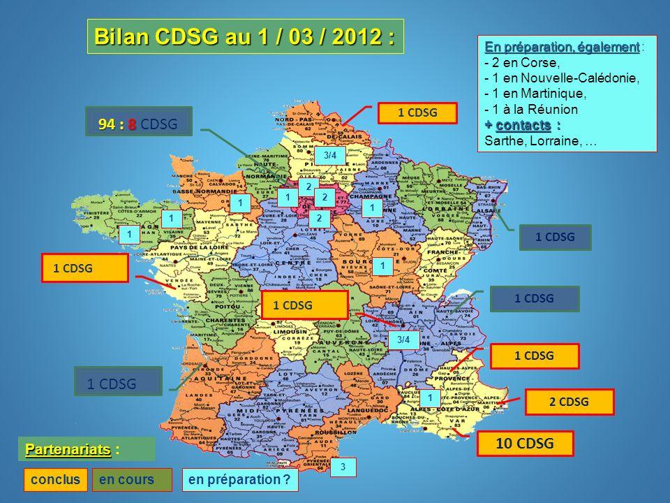 Bilan CDSG au 1 / 03 / 2012 : 94 : 8 CDSG 1 CDSG 10 CDSG