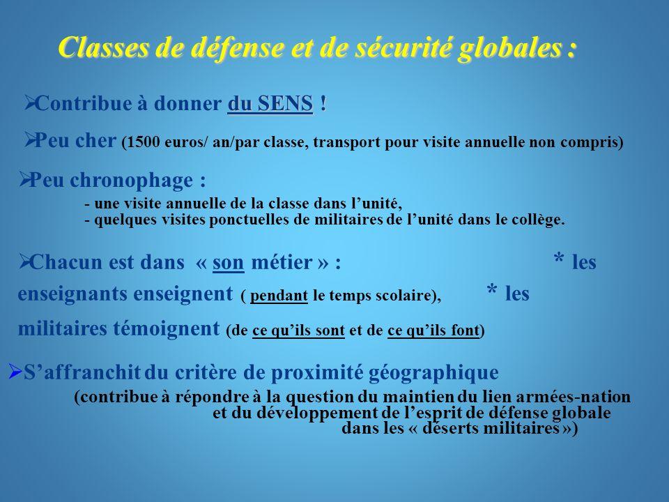 Classes de défense et de sécurité globales :