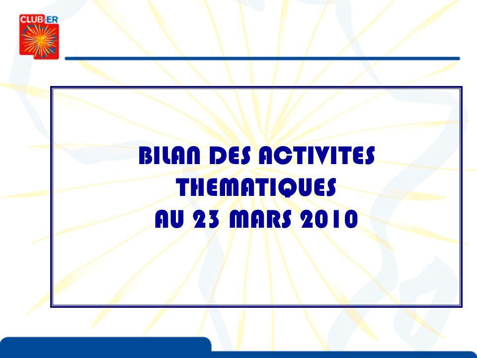 BILAN DES ACTIVITES THEMATIQUES