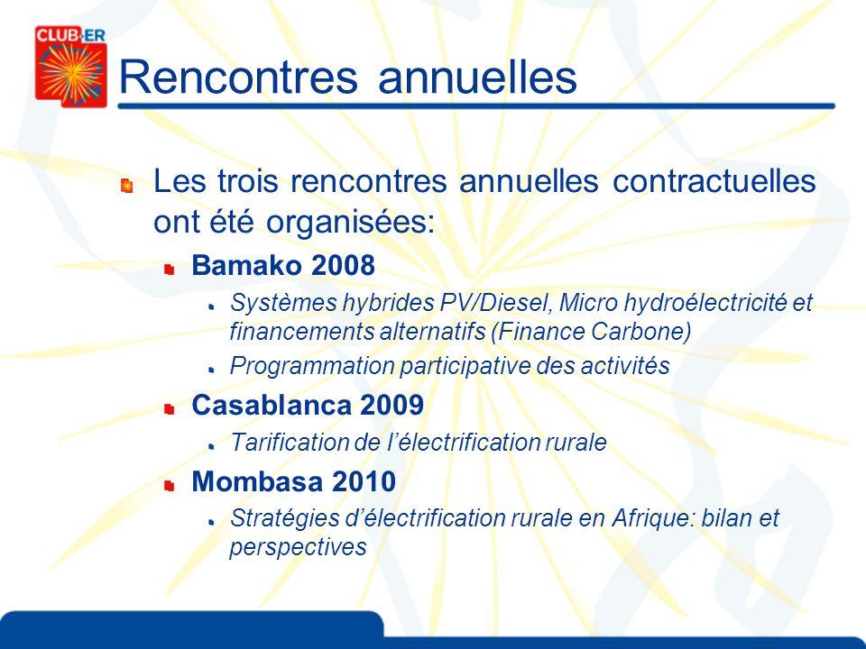 Rencontres annuelles Les trois rencontres annuelles contractuelles ont été organisées: Bamako 2008.