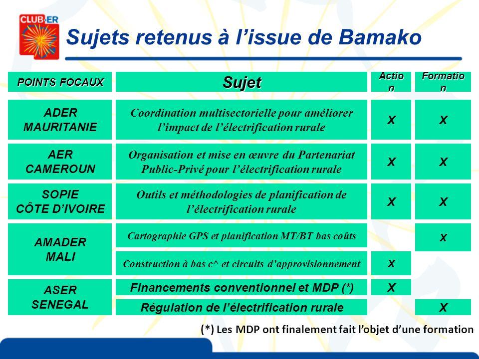 Sujets retenus à l'issue de Bamako