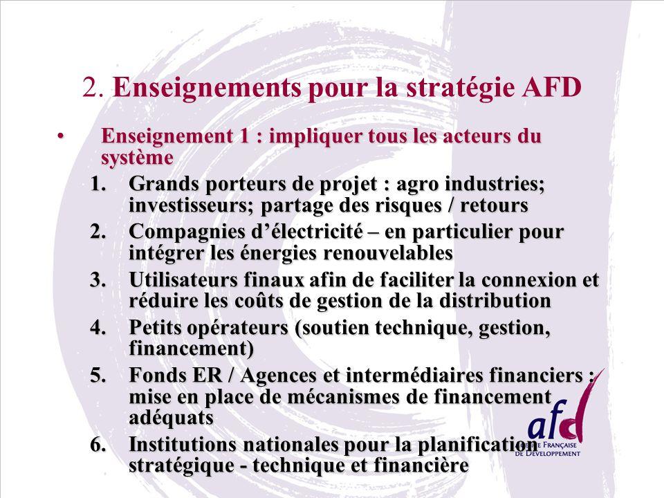 2. Enseignements pour la stratégie AFD