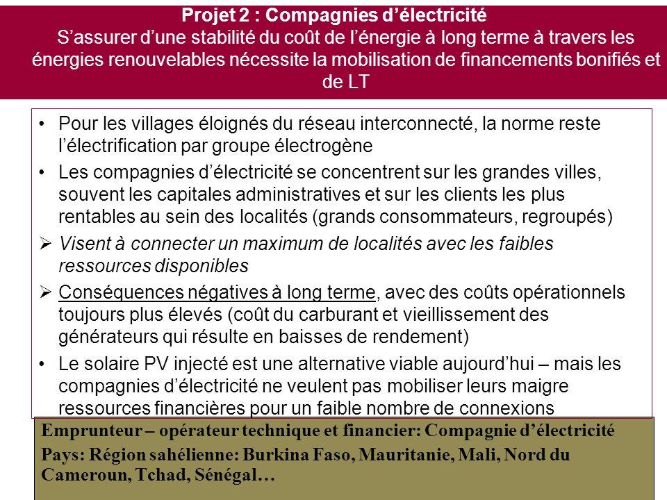 Projet 2 : Compagnies d'électricité S'assurer d'une stabilité du coût de l'énergie à long terme à travers les énergies renouvelables nécessite la mobilisation de financements bonifiés et de LT