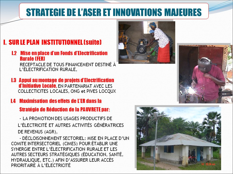 STRATEGIE DE L'ASER ET INNOVATIONS MAJEURES