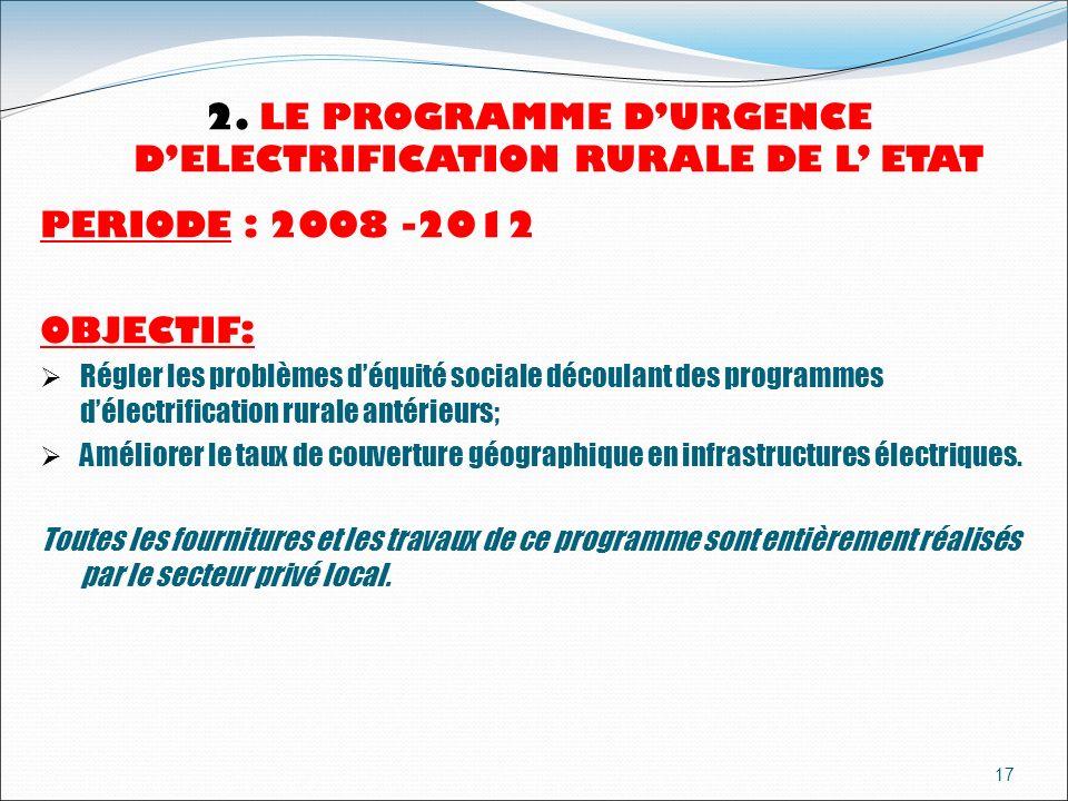 2. LE PROGRAMME D'URGENCE D'ELECTRIFICATION RURALE DE L' ETAT