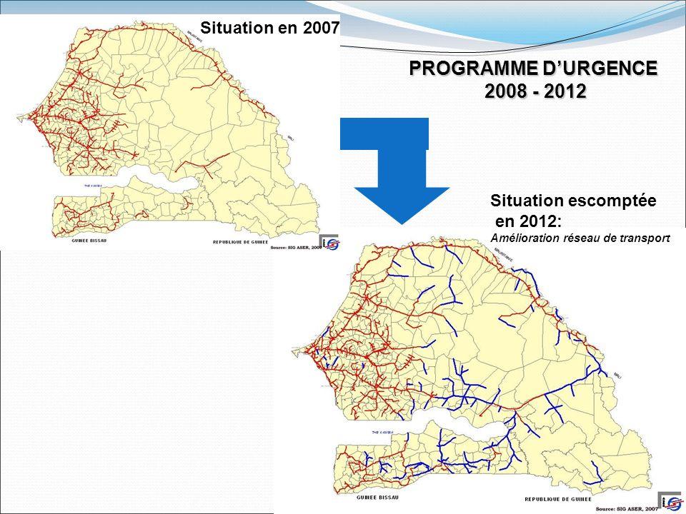 PROGRAMME D'URGENCE 2008 - 2012 Situation en 2007 Situation escomptée