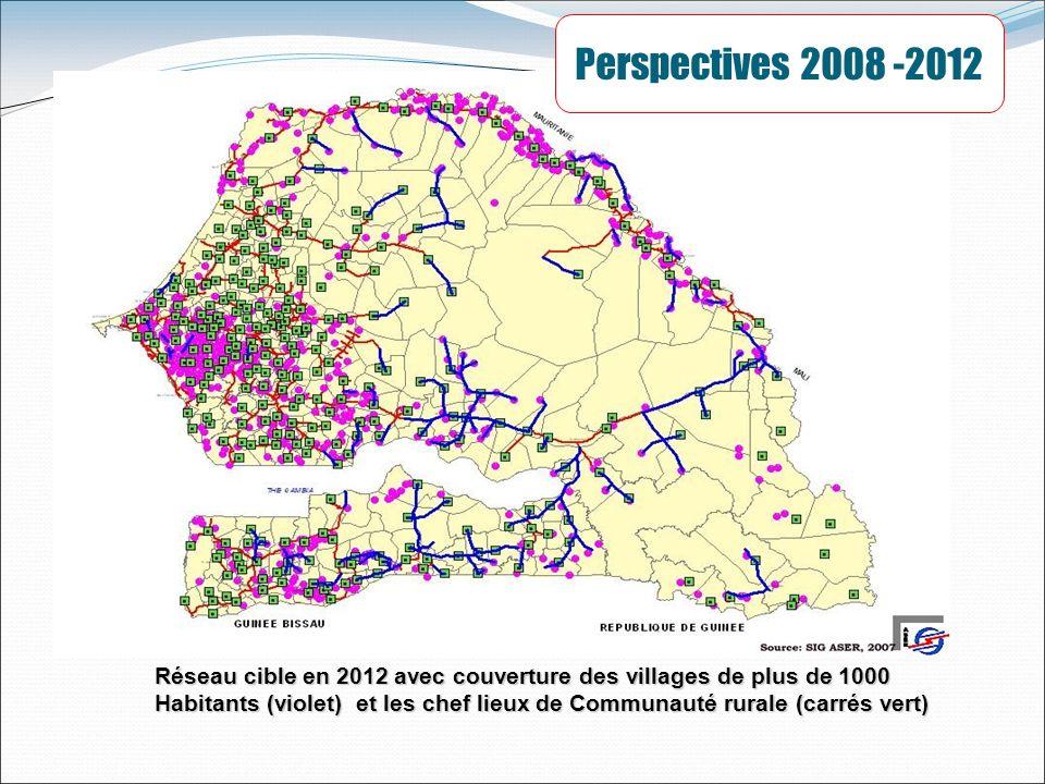 Réseau cible en 2012 avec couverture des villages de plus de 1000