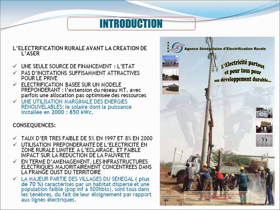 INTRODUCTION L'ELECTRIFICATION RURALE AVANT LA CREATION DE L'ASER