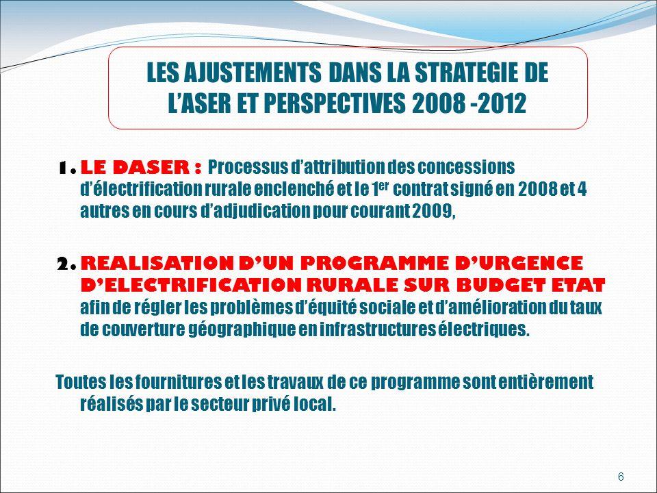 LES AJUSTEMENTS DANS LA STRATEGIE DE L'ASER ET PERSPECTIVES 2008 -2012