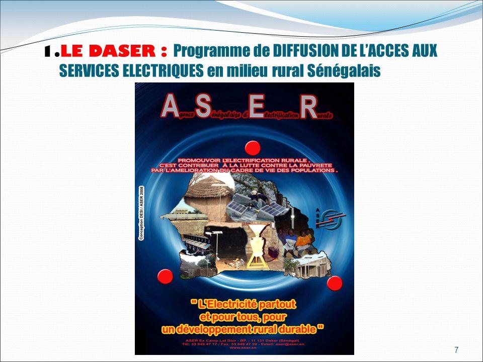 LE DASER : Programme de DIFFUSION DE L'ACCES AUX SERVICES ELECTRIQUES en milieu rural Sénégalais