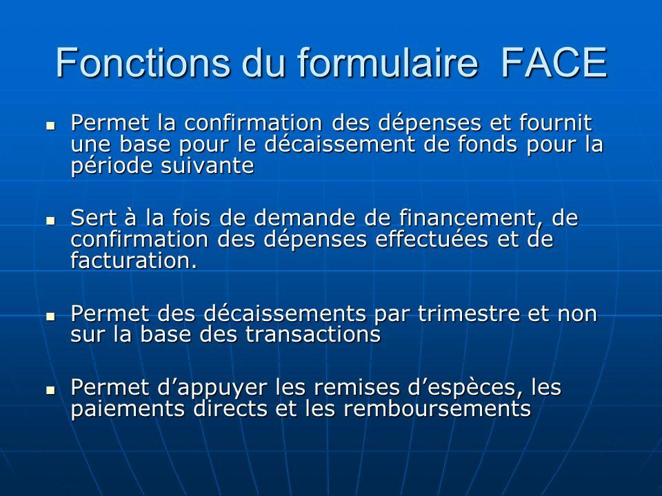 Fonctions du formulaire FACE