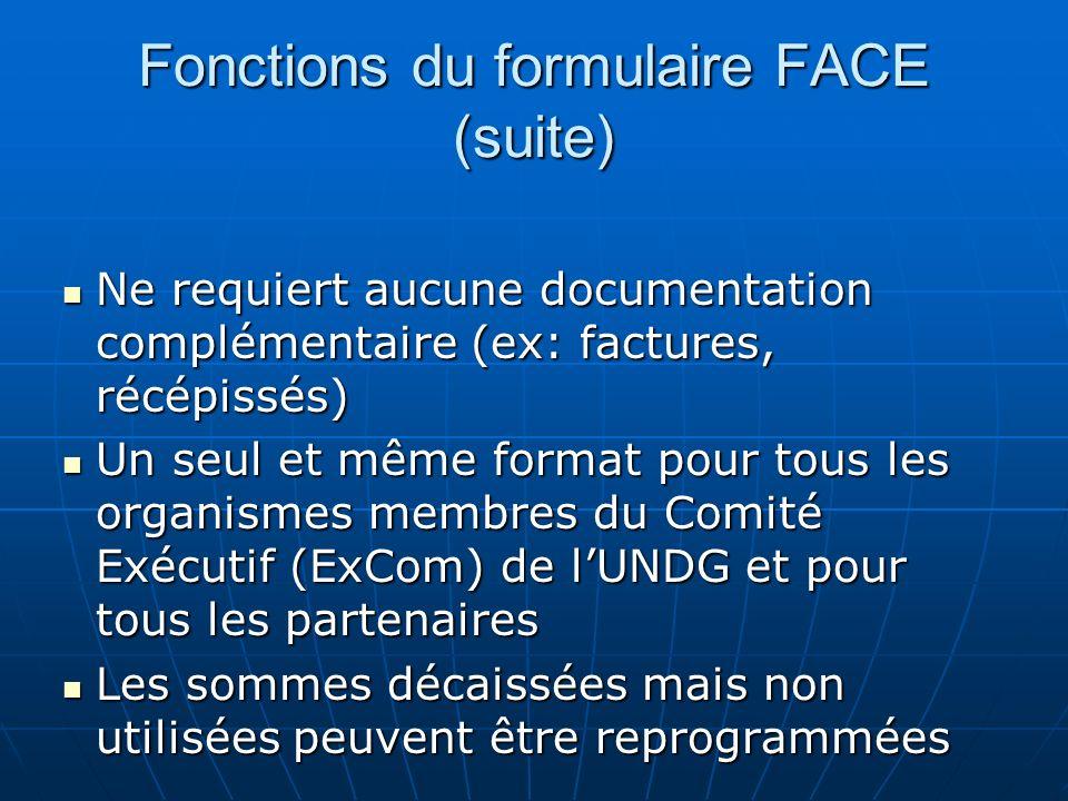 Fonctions du formulaire FACE (suite)