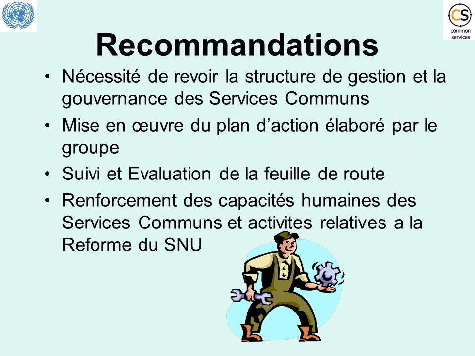 RecommandationsNécessité de revoir la structure de gestion et la gouvernance des Services Communs.