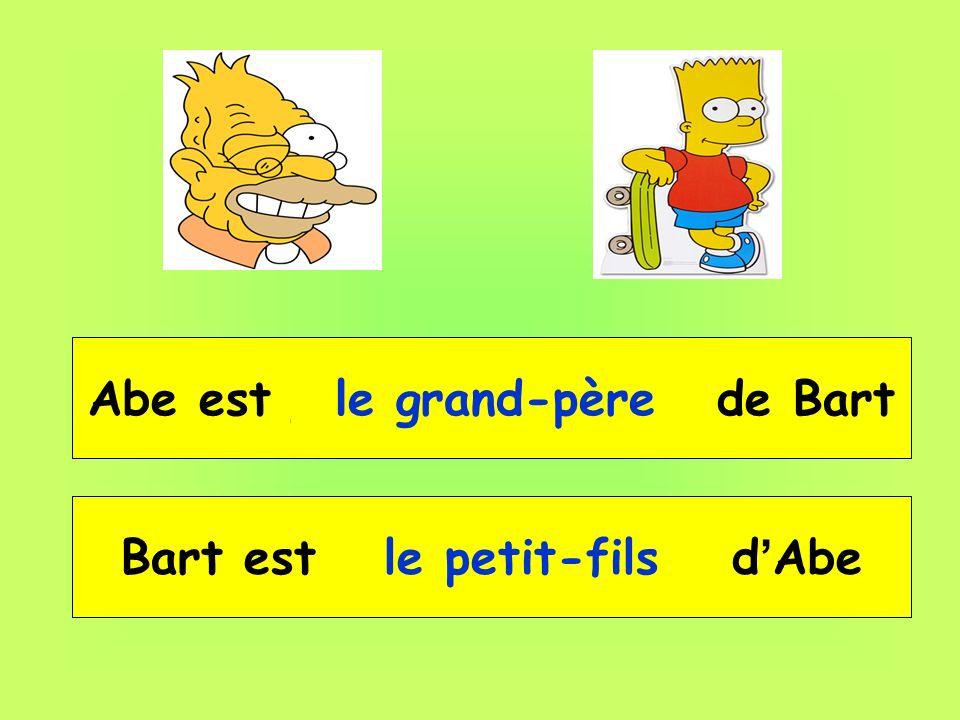 Abe est __ __________ de Bart Bart est __ _________ d'Abe