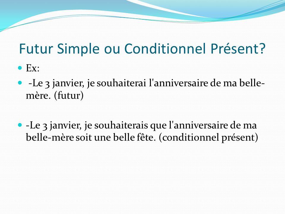 Futur Simple ou Conditionnel Présent