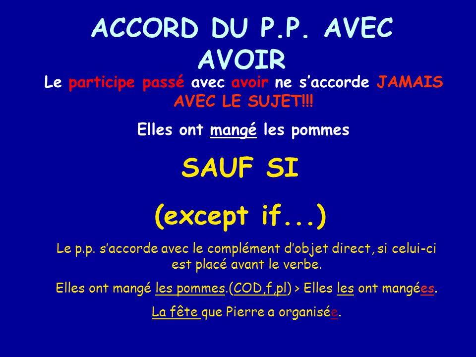 ACCORD DU P.P. AVEC AVOIR SAUF SI (except if...)