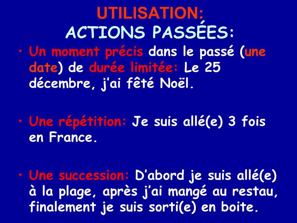 UTILISATION: ACTIONS PASSÉES: