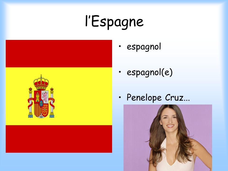 l'Espagne espagnol espagnol(e) Penelope Cruz...