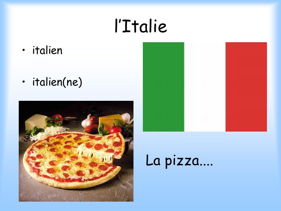 l'Italie italien italien(ne) La pizza....