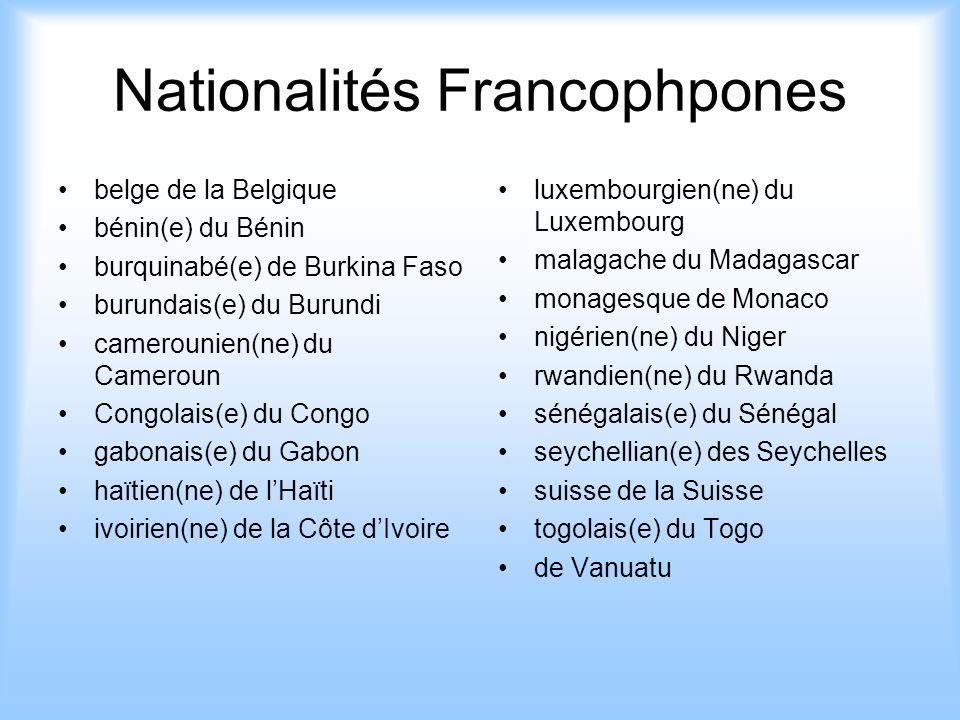 Nationalités Francophpones