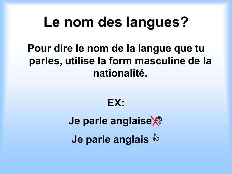 Le nom des langues