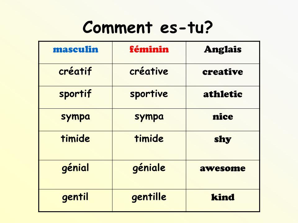 Comment es-tu masculin féminin Anglais créatif créative creative
