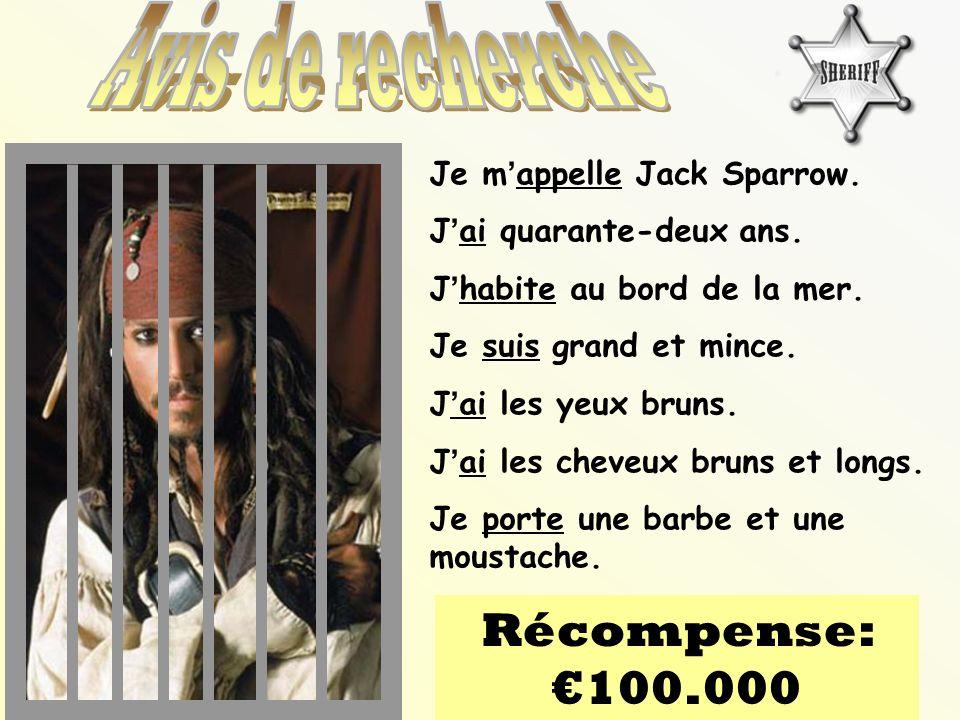 Avis de recherche Récompense: €100.000 Je m'appelle Jack Sparrow.