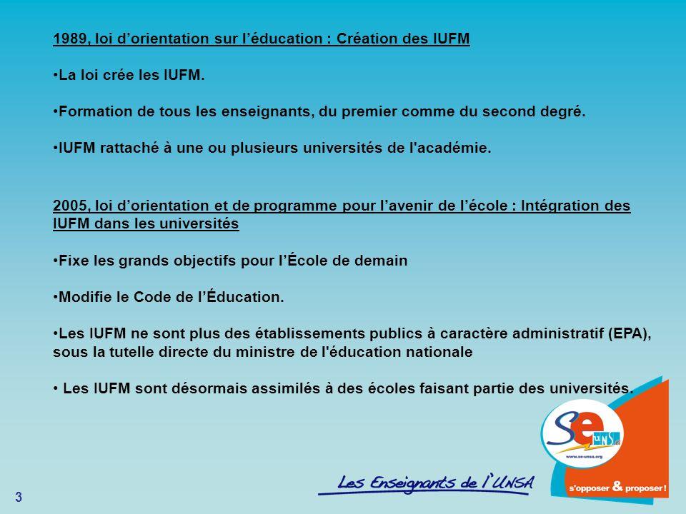 1989, loi d'orientation sur l'éducation : Création des IUFM