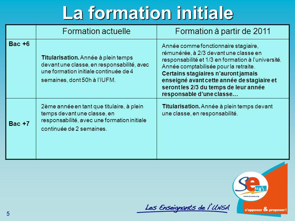 La formation initiale Formation actuelle Formation à partir de 2011