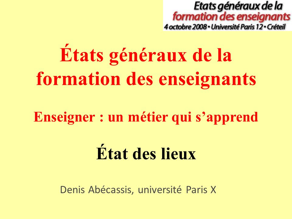 Denis Abécassis, université Paris X