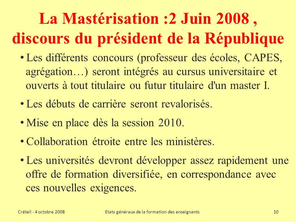 La Mastérisation :2 Juin 2008 , discours du président de la République