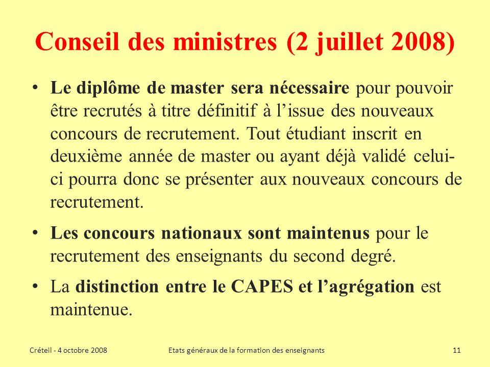 Conseil des ministres (2 juillet 2008)