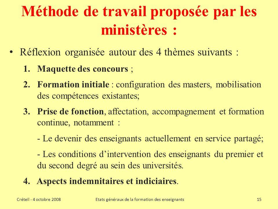 Méthode de travail proposée par les ministères :