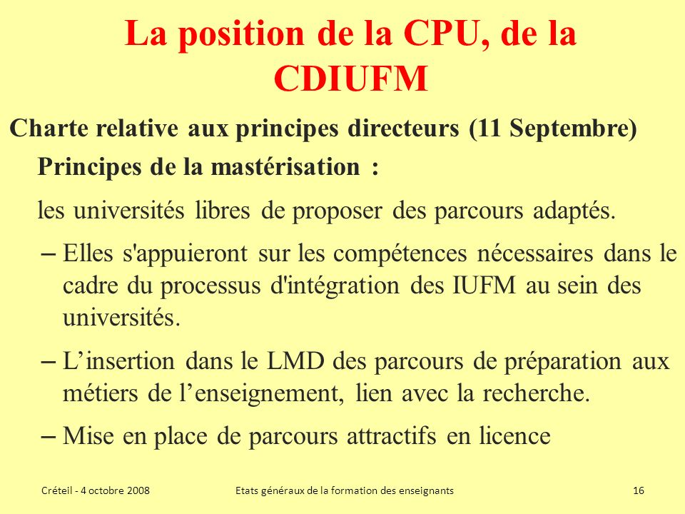 La position de la CPU, de la CDIUFM