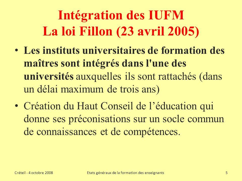 Intégration des IUFM La loi Fillon (23 avril 2005)