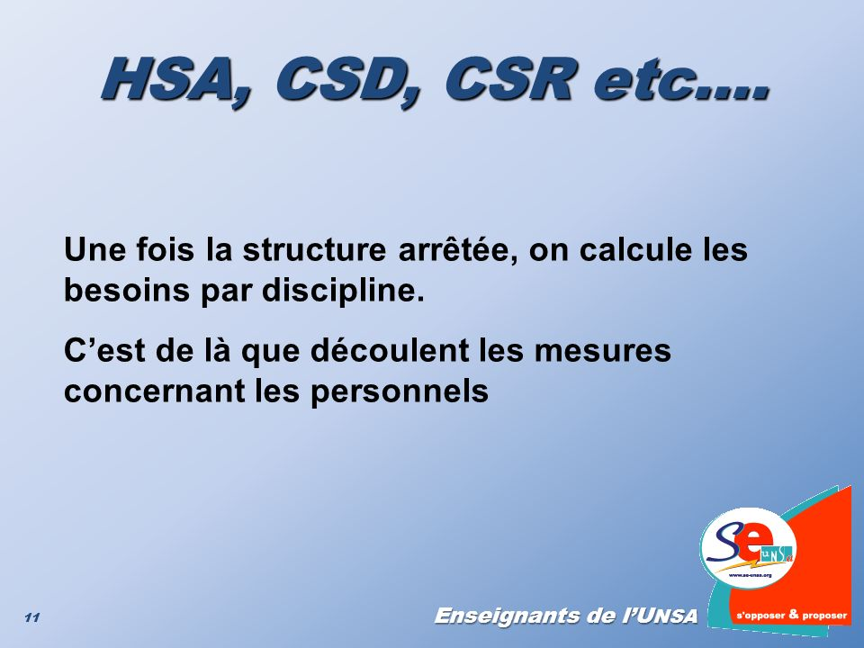 HSA, CSD, CSR etc…. Une fois la structure arrêtée, on calcule les besoins par discipline.
