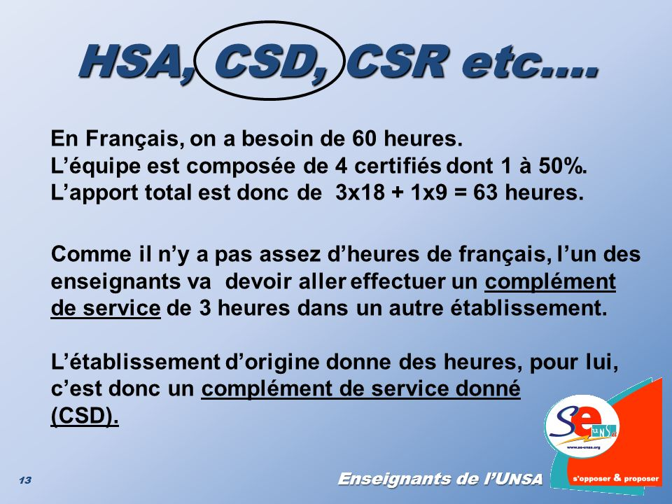 HSA, CSD, CSR etc…. En Français, on a besoin de 60 heures.