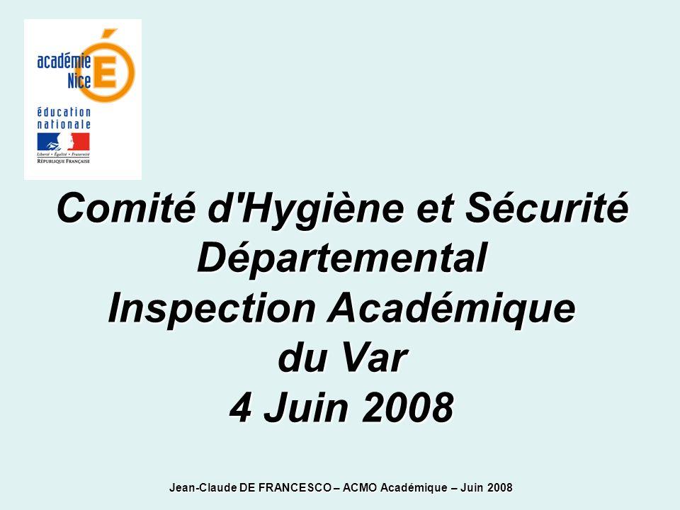Comité d Hygiène et Sécurité Départemental Inspection Académique du Var 4 Juin 2008 Jean-Claude DE FRANCESCO – ACMO Académique – Juin 2008