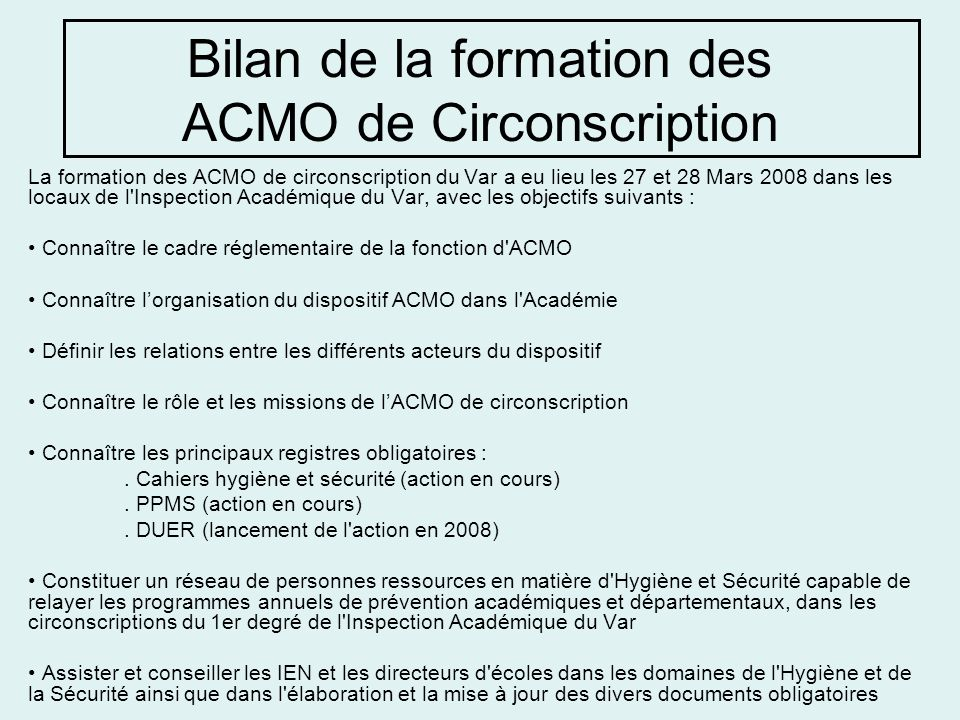 Bilan de la formation des ACMO de Circonscription