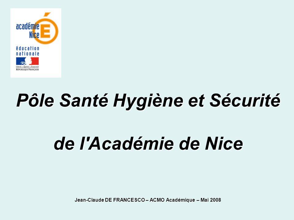 Pôle Santé Hygiène et Sécurité de l Académie de Nice Jean-Claude DE FRANCESCO – ACMO Académique – Mai 2008