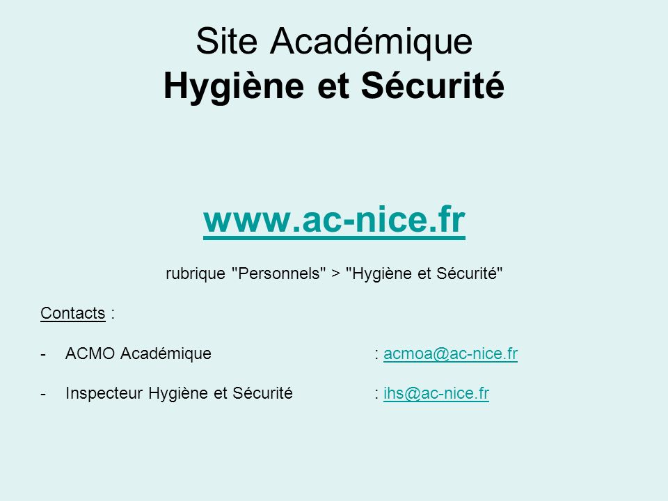 Site Académique Hygiène et Sécurité