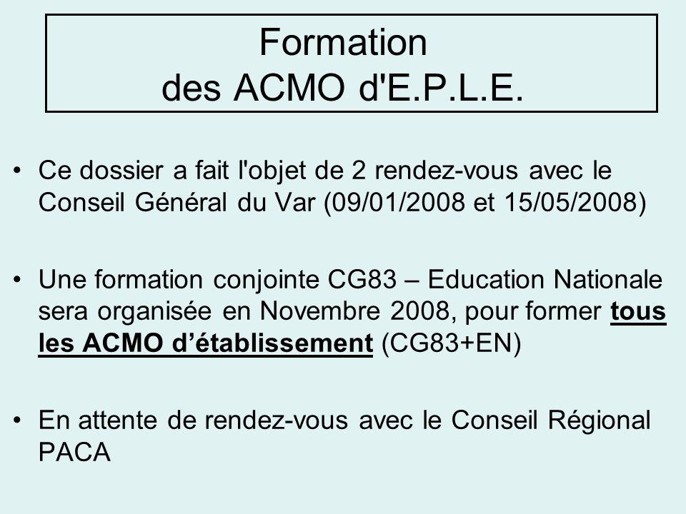 Formation des ACMO d E.P.L.E.