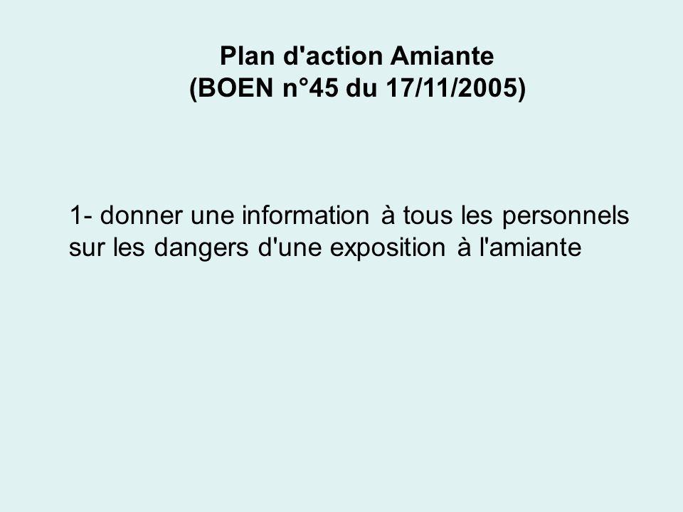 Plan d action Amiante(BOEN n°45 du 17/11/2005) 1- donner une information à tous les personnels.