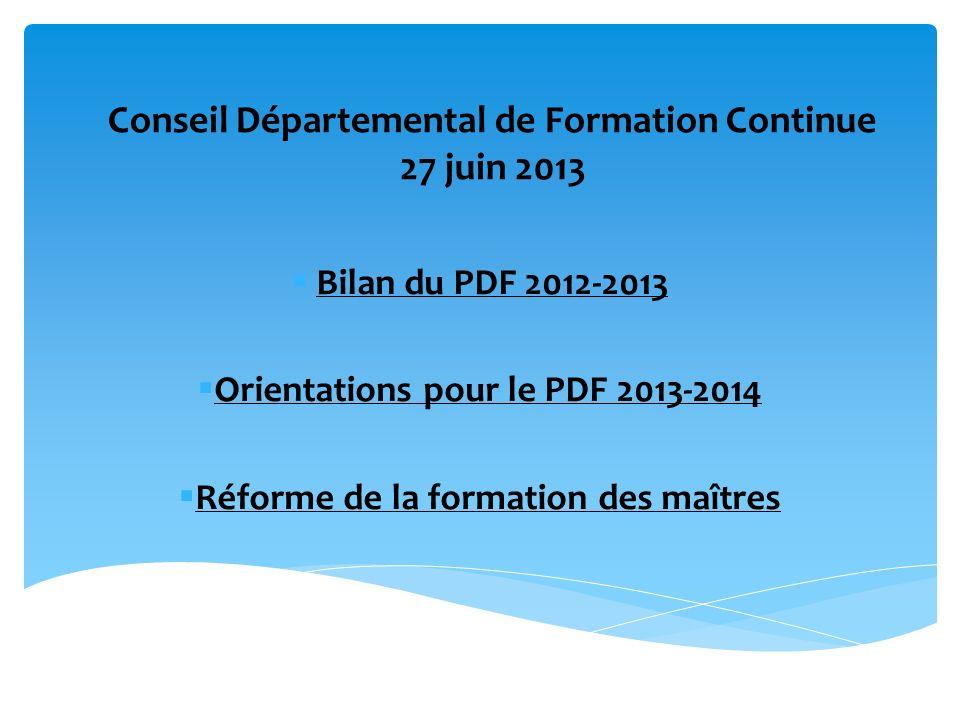 Conseil Départemental de Formation Continue 27 juin 2013