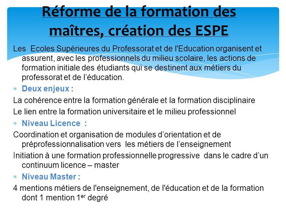 Réforme de la formation des maîtres, création des ESPE
