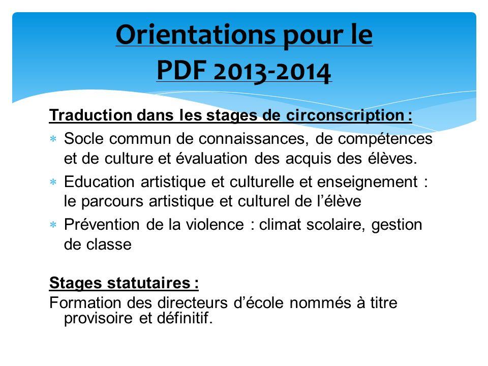 Orientations pour le PDF 2013-2014